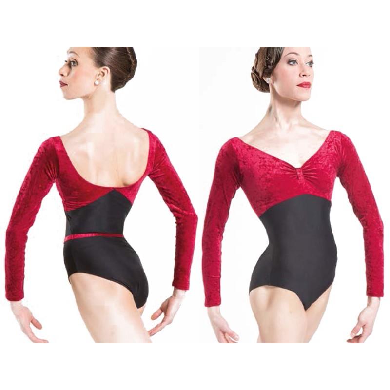 d1de8f9cf1b5 Wear Moi Bianca Velvet Long Sleeve Leotard -