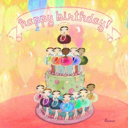 ballet papier birthday cake greetings card