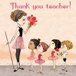 ballet papier thank you teacher greetings card