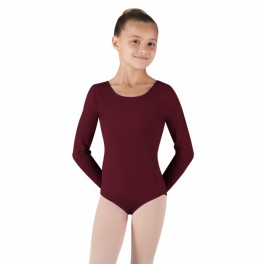 bloch petit long sleeve cotton spandex leotard
