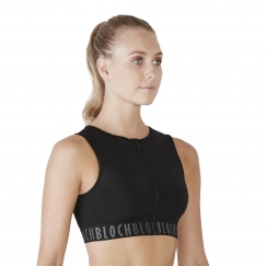 bloch remy zipper front crop tank top