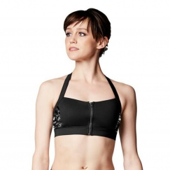 bloch justine lily stripe zip front halter crop top