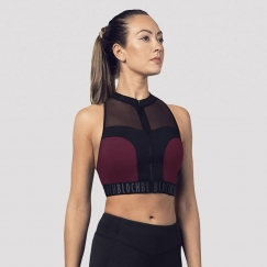 bloch colour block panelled zip crop top