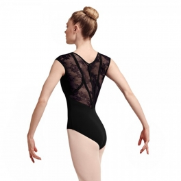 bloch hava floral lace cap sleeve leotard