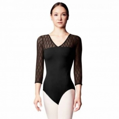 bloch lila rococo collection 3/4 sleeve leotard