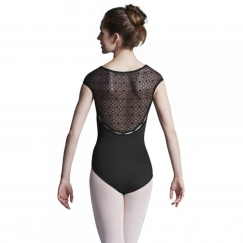 bloch edith geometric flower mesh cap sleeve leotard