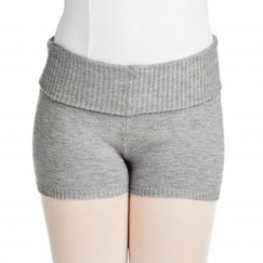 capezio super soft ribbed knit foldover boy shorts