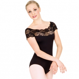 gaynor minden lace short sleeve leotard