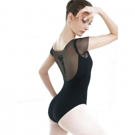 grishko motif mesh short sleeved leotard