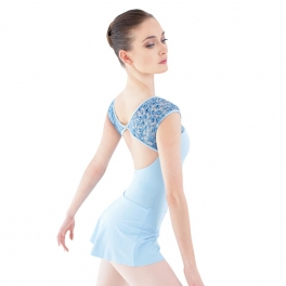 grishko motif mesh cap sleeved leotard