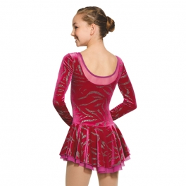 mondor velvet long sleeve skating dress