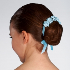 mimy design large hair blossom with satin ribbon