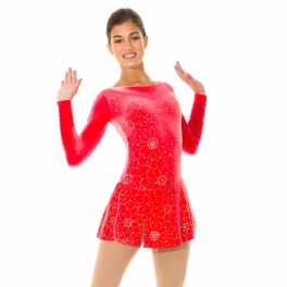 mondor glitter motif velvet ice skating dress