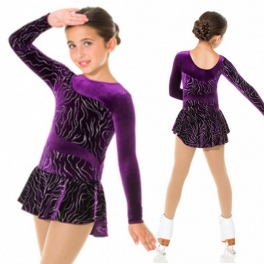 mondor velvet long sleeve ice skating dress
