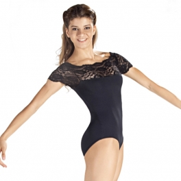 so danca floral lace boat neck leotard