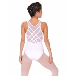 so danca mesh tank strappy back leotard