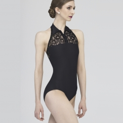 wear moi amour flocked tulle halter neck leotard