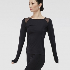 wear moi arezza long sleeve microfibre dance top