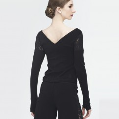 wear moi bonny knitted lace long sleeve sweater