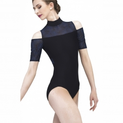 wear moi clematis night blue cold shoulder leotard