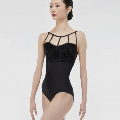 wear moi darya floral flocked tulle camisole leotard
