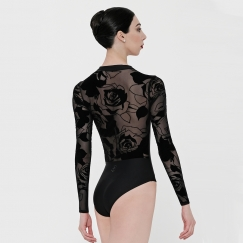 wear moi felicite rose collection long sleeve leotard