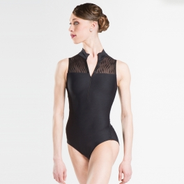 wear moi folie wave mesh high neck leotard