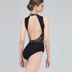 wear moi ginger mini flower turtleneck leotard