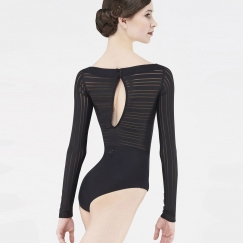 wear moi stiped mesh long sleeved leotard