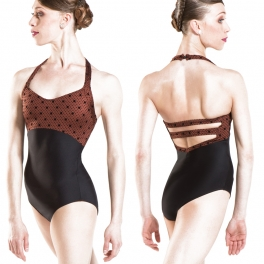 wear moi kentia swiss dot halter leotard