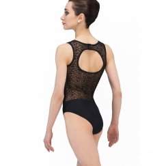 wear moi reglisse velour flocked tulle tank leotard