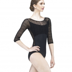 wear moi rosalie velour flocked half sleeve leotard
