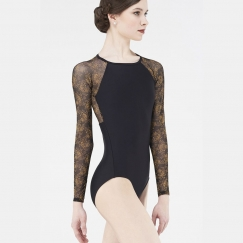 wear moi solen printed tulle long sleeved leotard