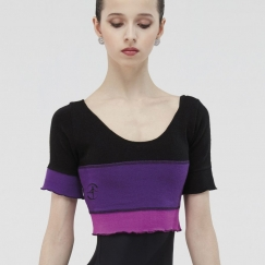 wear moi tulipe patchwork knitted acrylic crop top