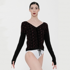 wear moi volupte embroidered flower long sleeve sweater