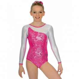 gymnastics leotards - the zone leotard - sorbet design long sleeve gymnastics leotard