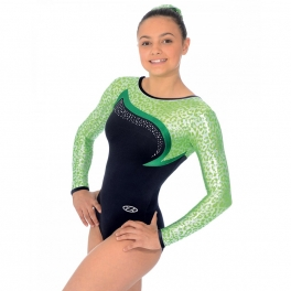 the zone leopard long sleeve gymnastics leotard