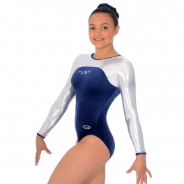 gymnastics leotards - the zone leotard - star design round neck long sleeve leotard