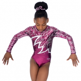 gymnastics leotards - the zone Electra leotard - long sleeve round neck