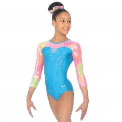 the zone opal three quarter sleeve gymnastics leotard