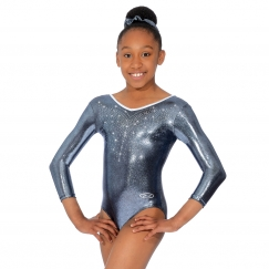 the zone flyte three quarter sleeved v neck gymnastics leotard