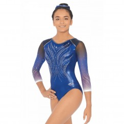 the zone dusk crystal three quarter sleeve gymnastics leotard