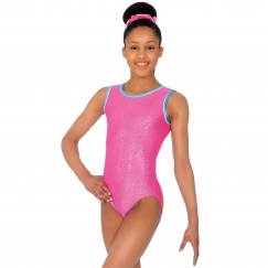 the zone charmed foil print sleeveless gymnastics leotard