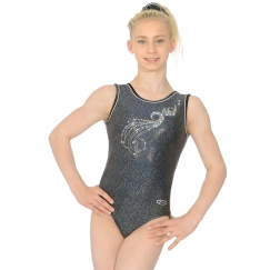 the zone glitz foil print sleeveless gymnastics leotard