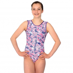 the zone halley foil print gymnastics leotard