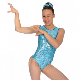 the zone leopard round neck gym leotard